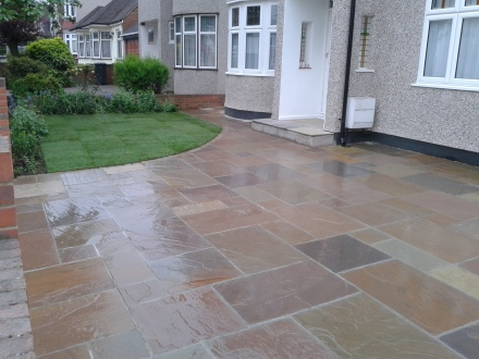 Indian sandstone for this driveway in Dartford, Kent