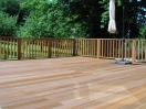 Hardwood decking : Raised deck with balustrade to match.