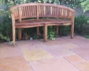 Sahara colour sand stone against teak bench.
