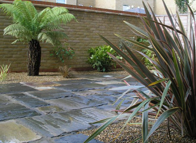 Strong natural stone with plants to suit